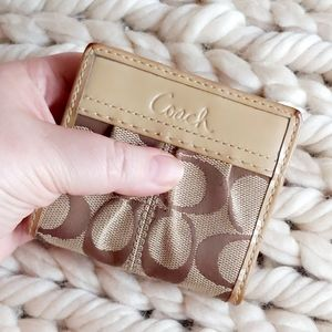 Coach Tan/Brown Signature Mini Snap Wallet